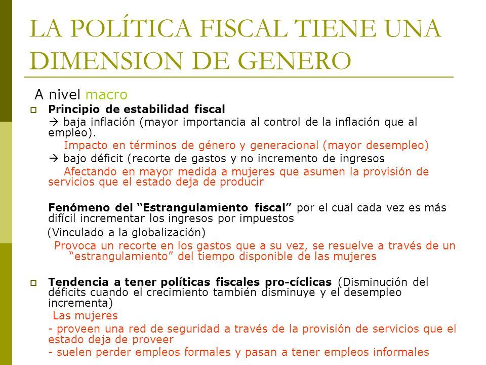 LA POLÍTICA FISCAL TIENE UNA DIMENSION DE GENERO A nivel macro Principio de estabilidad fiscal baja inflación (mayor importancia al control de la infl