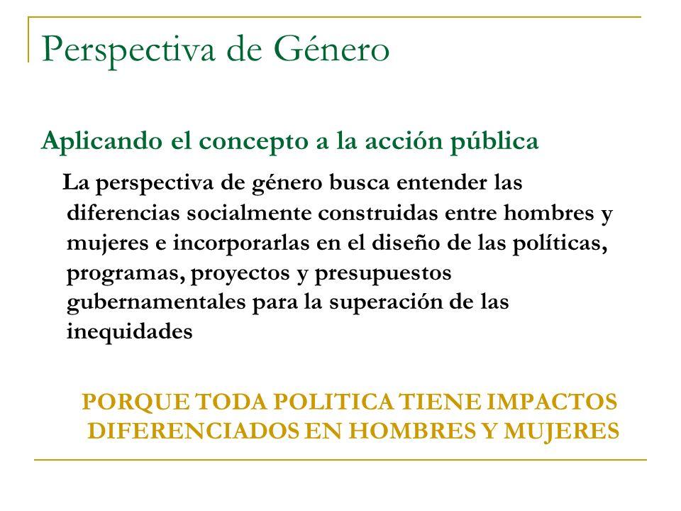 Perspectiva de Género Aplicando el concepto a la acción pública La perspectiva de género busca entender las diferencias socialmente construidas entre