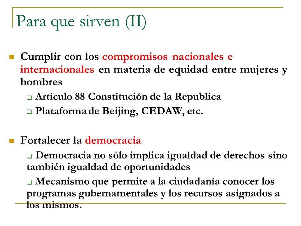 Para que sirven (II) Cumplir con los compromisos nacionales e internacionales en materia de equidad entre mujeres y hombres Artículo 88 Constitución d