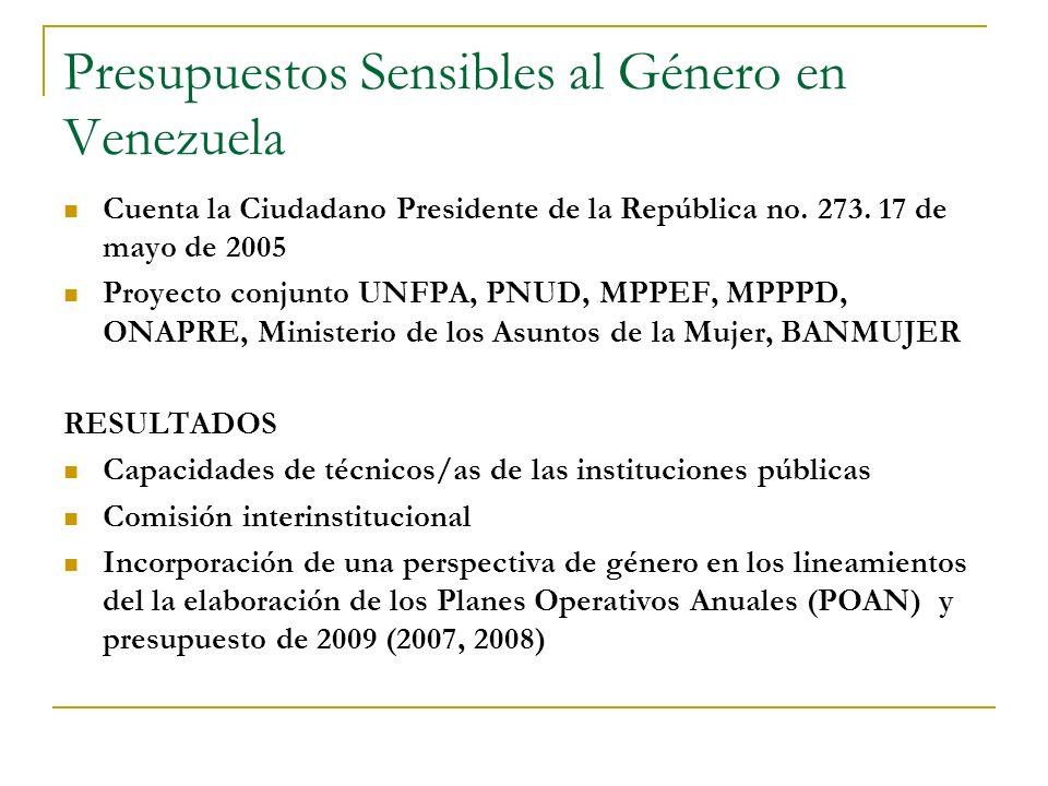 Presupuestos Sensibles al Género en Venezuela Cuenta la Ciudadano Presidente de la República no. 273. 17 de mayo de 2005 Proyecto conjunto UNFPA, PNUD