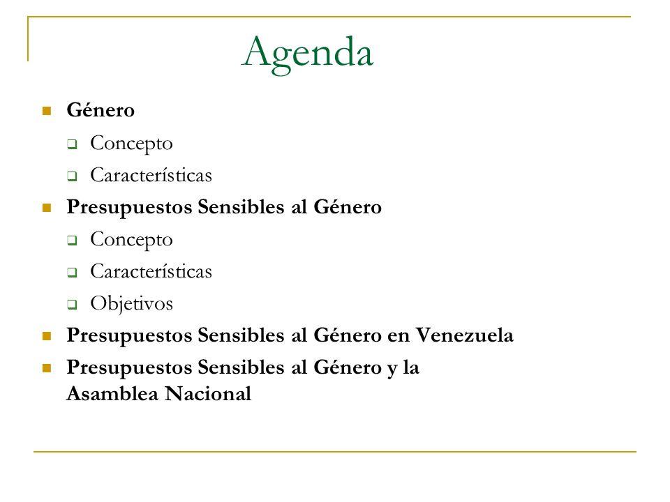 Agenda Género Concepto Características Presupuestos Sensibles al Género Concepto Características Objetivos Presupuestos Sensibles al Género en Venezue
