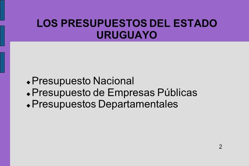 LOS PRESUPUESTOS DEL ESTADO URUGUAYO Presupuesto Nacional Presupuesto de Empresas Públicas Presupuestos Departamentales 2