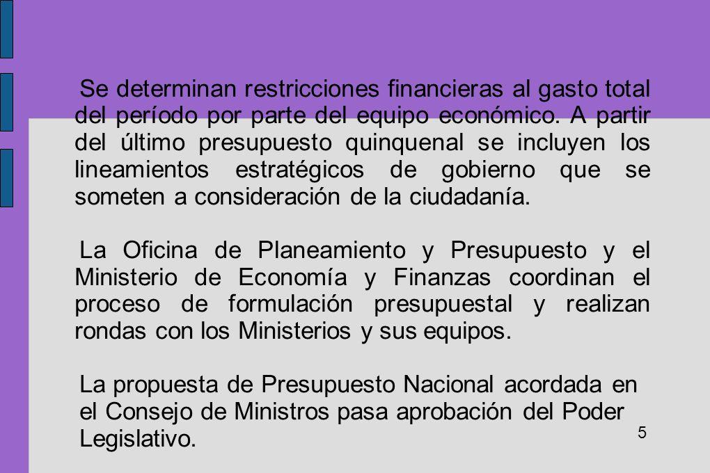 Se determinan restricciones financieras al gasto total del período por parte del equipo económico. A partir del último presupuesto quinquenal se inclu