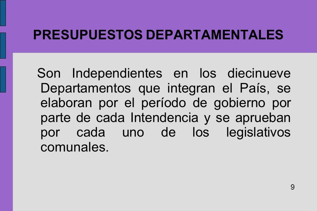 PRESUPUESTOS DEPARTAMENTALES Son Independientes en los diecinueve Departamentos que integran el País, se elaboran por el período de gobierno por parte