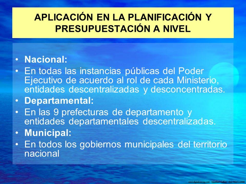 APLICACIÓN EN LA PLANIFICACIÓN Y PRESUPUESTACIÓN A NIVEL Nacional: En todas las instancias públicas del Poder Ejecutivo de acuerdo al rol de cada Ministerio, entidades descentralizadas y desconcentradas.