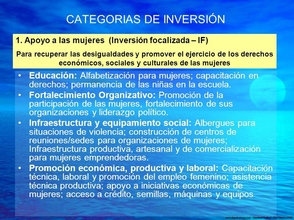 CATEGORIAS DE INVERSIÓN Educación: Alfabetización para mujeres; capacitación en derechos; permanencia de las niñas en la escuela.