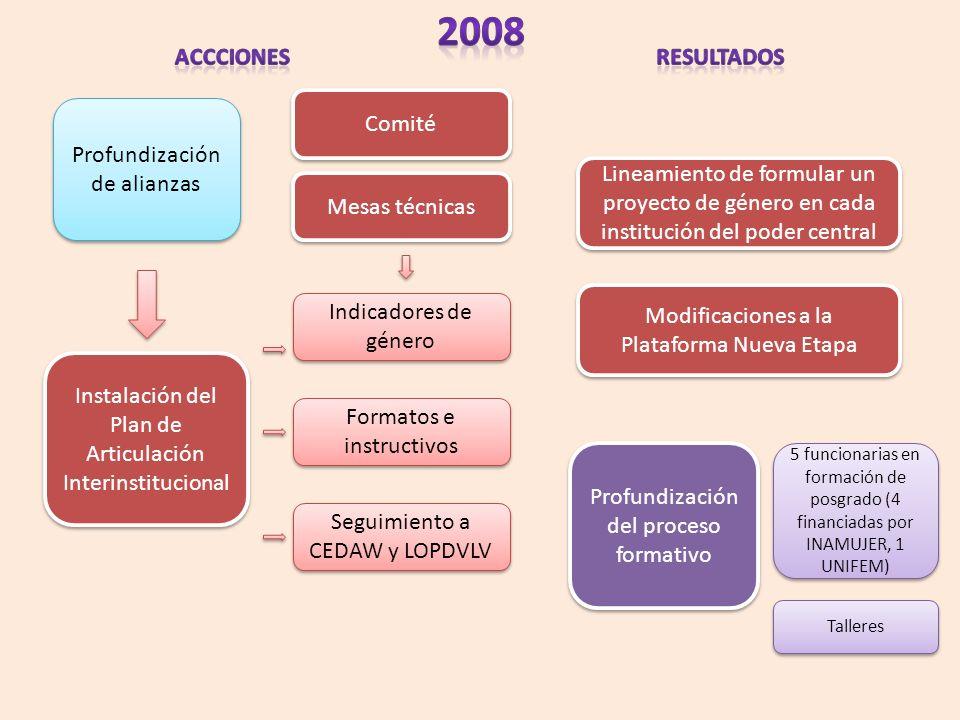 Profundización de alianzas Instalación del Plan de Articulación Interinstitucional Indicadores de género Formatos e instructivos Seguimiento a CEDAW y