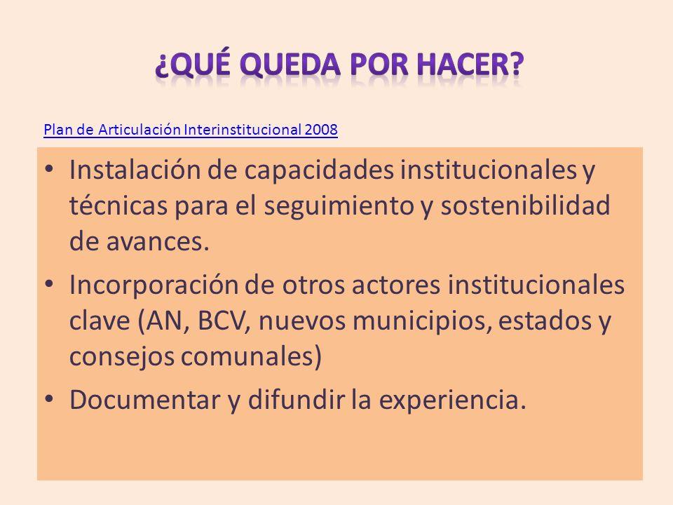 Plan de Articulación Interinstitucional 2008 Instalación de capacidades institucionales y técnicas para el seguimiento y sostenibilidad de avances. In