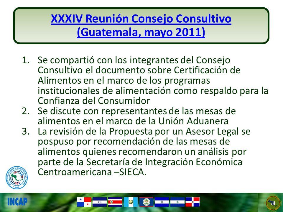 XXXIV Reunión Consejo Consultivo (Guatemala, mayo 2011) 1.Se compartió con los integrantes del Consejo Consultivo el documento sobre Certificación de