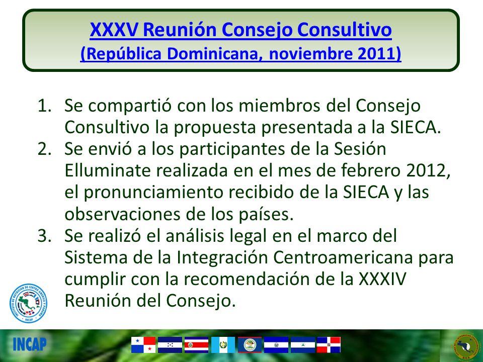 XXXV Reunión Consejo Consultivo (República Dominicana, noviembre 2011) 1.Se compartió con los miembros del Consejo Consultivo la propuesta presentada
