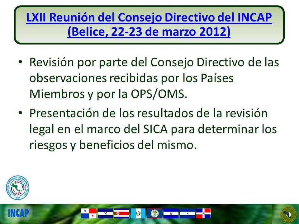 Revisión por parte del Consejo Directivo de las observaciones recibidas por los Países Miembros y por la OPS/OMS. Presentación de los resultados de la