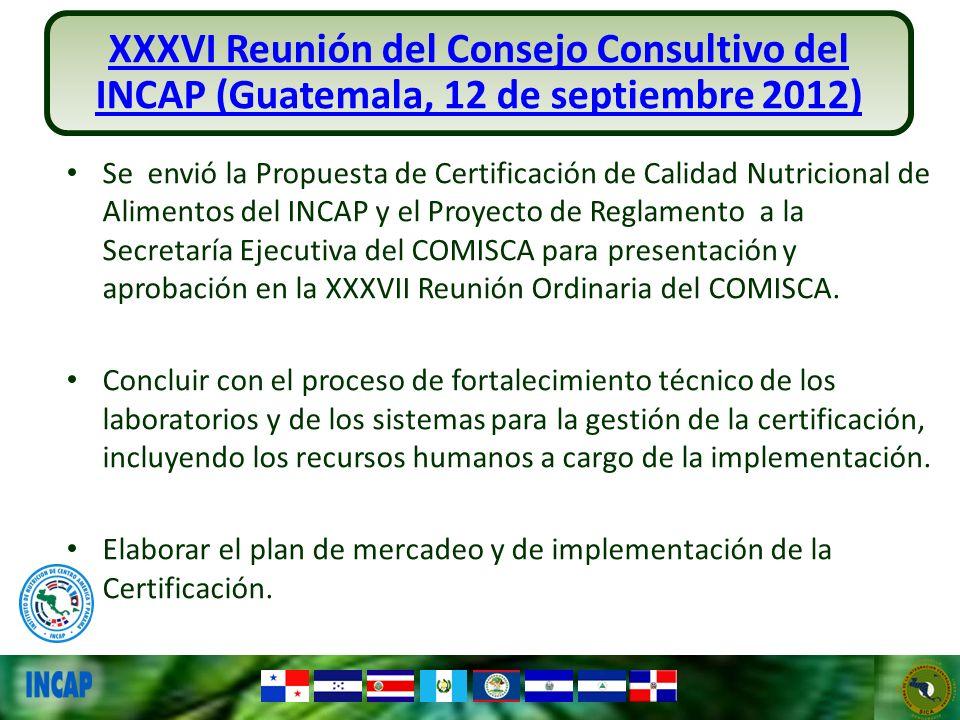 Se envió la Propuesta de Certificación de Calidad Nutricional de Alimentos del INCAP y el Proyecto de Reglamento a la Secretaría Ejecutiva del COMISCA