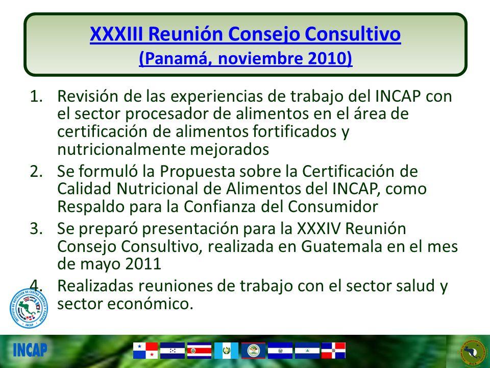 XXXIV Reunión Consejo Consultivo (Guatemala, mayo 2011) 1.Se compartió con los integrantes del Consejo Consultivo el documento sobre Certificación de Alimentos en el marco de los programas institucionales de alimentación como respaldo para la Confianza del Consumidor 2.Se discute con representantes de las mesas de alimentos en el marco de la Unión Aduanera 3.La revisión de la Propuesta por un Asesor Legal se pospuso por recomendación de las mesas de alimentos quienes recomendaron un análisis por parte de la Secretaría de Integración Económica Centroamericana –SIECA.