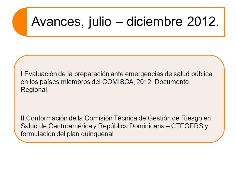 Avances, julio – diciembre 2012. I.Evaluación de la preparación ante emergencias de salud pública en los países miembros del COMISCA, 2012. Documento