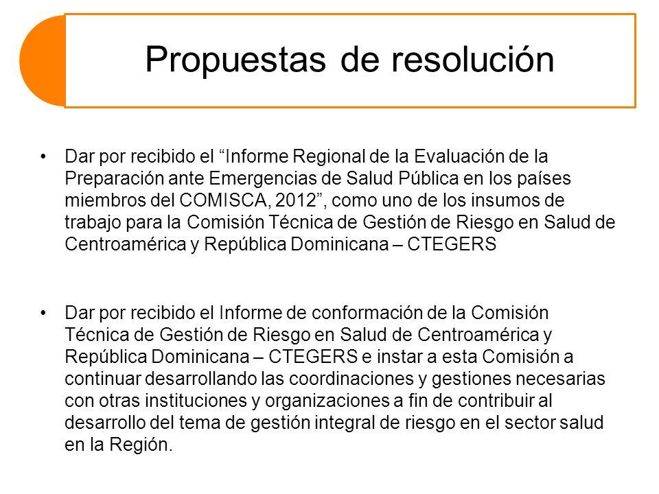 Propuestas de resolución Dar por recibido el Informe Regional de la Evaluación de la Preparación ante Emergencias de Salud Pública en los países miemb