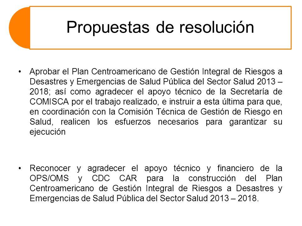 Propuestas de resolución Aprobar el Plan Centroamericano de Gestión Integral de Riesgos a Desastres y Emergencias de Salud Pública del Sector Salud 20