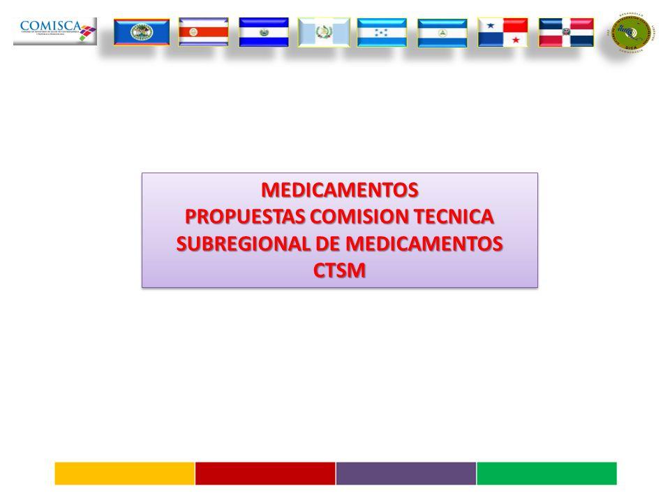 MEDICAMENTOS PROPUESTAS COMISION TECNICA SUBREGIONAL DE MEDICAMENTOS CTSMMEDICAMENTOS CTSM