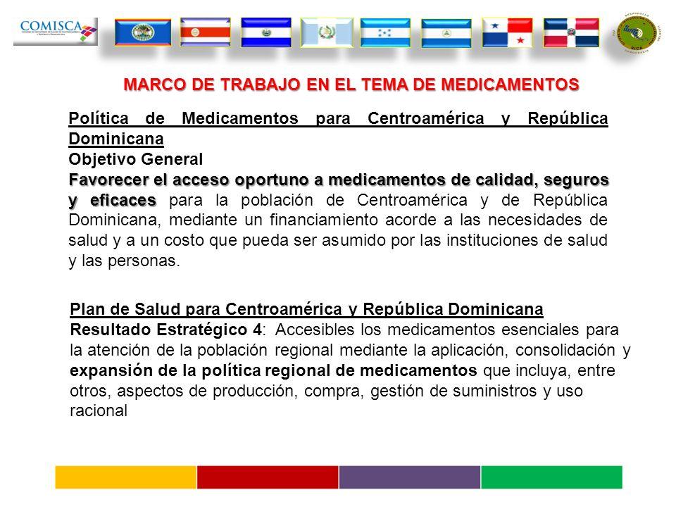 Política de Medicamentos para Centroamérica y República Dominicana Objetivo General Favorecerel acceso oportuno a medicamentos de calidad, seguros y eficaces Favorecer el acceso oportuno a medicamentos de calidad, seguros y eficaces para la población de Centroamérica y de República Dominicana, mediante un financiamiento acorde a las necesidades de salud y a un costo que pueda ser asumido por las instituciones de salud y las personas.