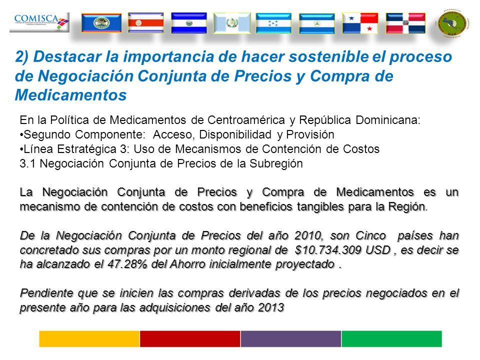 2) Destacar la importancia de hacer sostenible el proceso de Negociación Conjunta de Precios y Compra de Medicamentos En la Política de Medicamentos de Centroamérica y República Dominicana: Segundo Componente: Acceso, Disponibilidad y Provisión Línea Estratégica 3: Uso de Mecanismos de Contención de Costos 3.1 Negociación Conjunta de Precios de la Subregión La Negociación Conjunta de Precios y Compra de Medicamentos es un mecanismo de contención de costos con beneficios tangibles para la Región La Negociación Conjunta de Precios y Compra de Medicamentos es un mecanismo de contención de costos con beneficios tangibles para la Región.