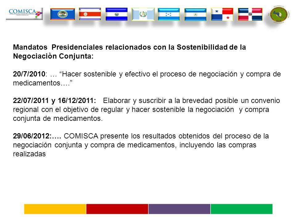 Mandatos Presidenciales relacionados con la Sostenibilidad de la Negociaciòn Conjunta: 20/7/2010: … Hacer sostenible y efectivo el proceso de negociación y compra de medicamentos….