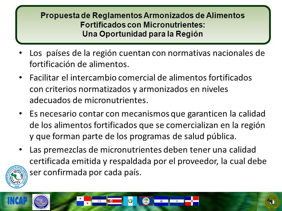 Los países de la región cuentan con normativas nacionales de fortificación de alimentos. Facilitar el intercambio comercial de alimentos fortificados