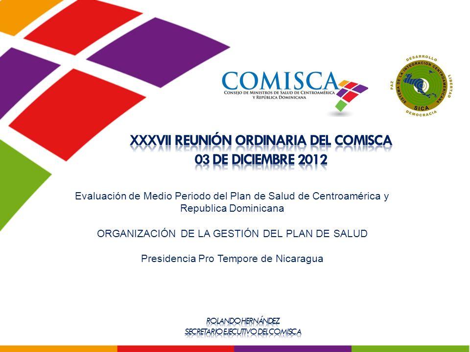 Evaluación de Medio Periodo del Plan de Salud de Centroamérica y Republica Dominicana ORGANIZACIÓN DE LA GESTIÓN DEL PLAN DE SALUD Presidencia Pro Tempore de Nicaragua