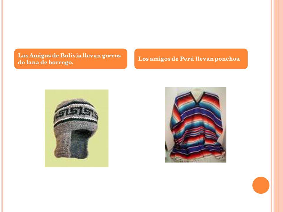 Los Amigos de Bolivia llevan gorros de lana de borrego. Los amigos de Perú llevan ponchos.