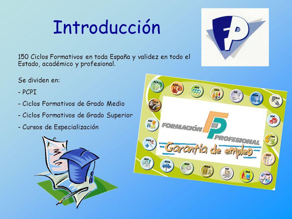 Introducción 150 Ciclos Formativos en toda España y validez en todo el Estado, académico y profesional. Se dividen en: - PCPI - Ciclos Formativos de G