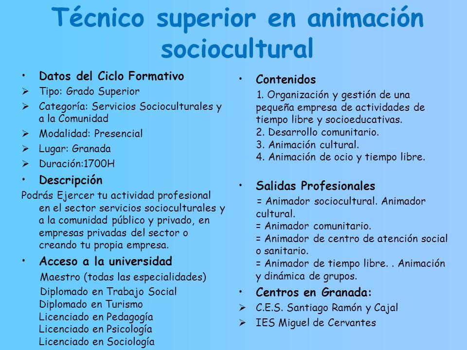 Técnico superior en animación sociocultural Datos del Ciclo Formativo Tipo: Grado Superior Categoría: Servicios Socioculturales y a la Comunidad Modal
