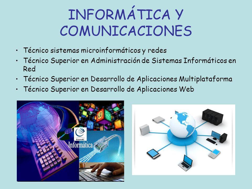INFORMÁTICA Y COMUNICACIONES Técnico sistemas microinformáticos y redes Técnico Superior en Administración de Sistemas Informáticos en Red Técnico Sup