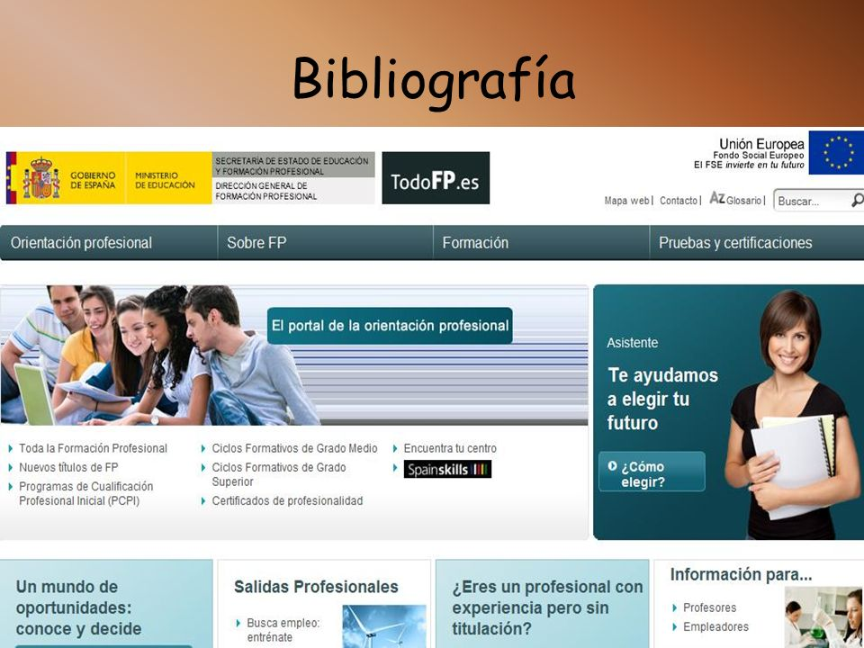 Bibliografía http://www.todofp.es http://www.tuformacionprofesional.com/buscar/index.php?q=&fam=13 &modalidad=2&ciclo=134&place=18&typeActual=1 http:/