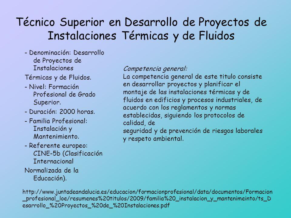 Técnico Superior en Desarrollo de Proyectos de Instalaciones Térmicas y de Fluidos - Denominación: Desarrollo de Proyectos de Instalaciones Térmicas y