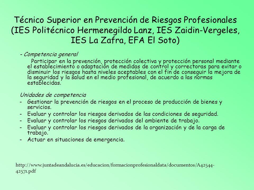 Técnico Superior en Prevención de Riesgos Profesionales (IES Politécnico Hermenegildo Lanz, IES Zaidin-Vergeles, IES La Zafra, EFA El Soto) - Competen