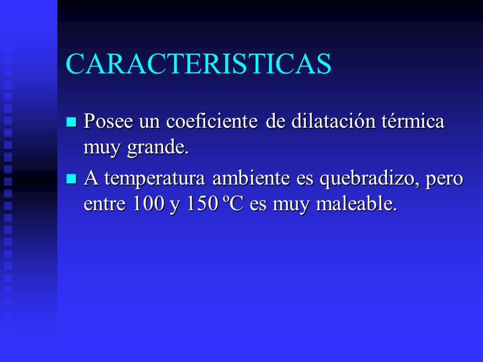CARACTERISTICAS n Posee un coeficiente de dilatación térmica muy grande.