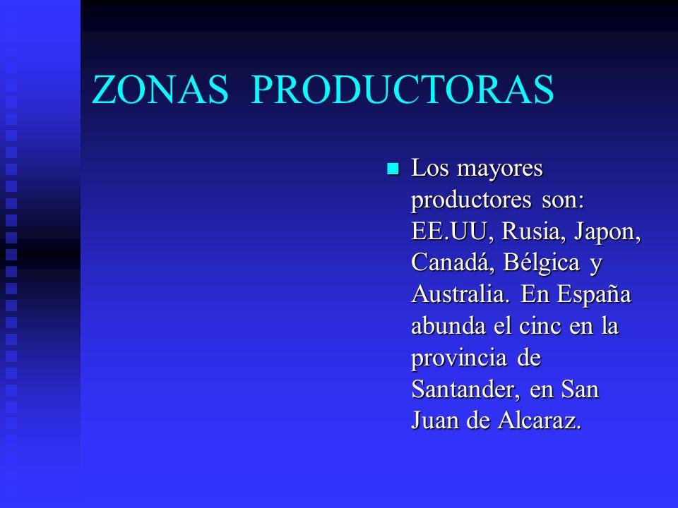 ZONAS PRODUCTORAS n Los mayores productores son: EE.UU, Rusia, Japon, Canadá, Bélgica y Australia.