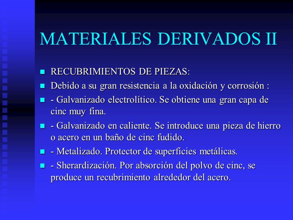 MATERIALES DERIVADOS II n RECUBRIMIENTOS DE PIEZAS: n Debido a su gran resistencia a la oxidación y corrosión : n - Galvanizado electrolítico.