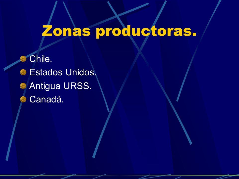 Zonas productoras. Chile. Estados Unidos. Antigua URSS. Canadá.