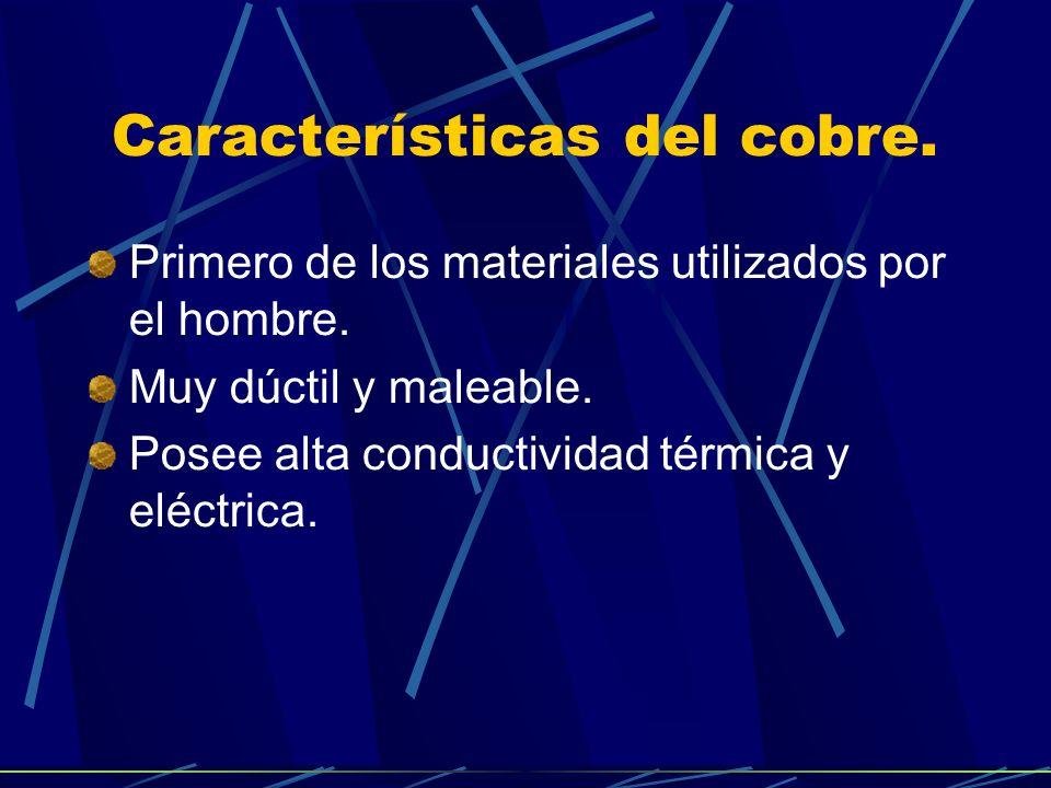Características del cobre.Primero de los materiales utilizados por el hombre.