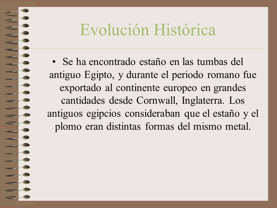 Evolución Histórica Se ha encontrado estaño en las tumbas del antiguo Egipto, y durante el periodo romano fue exportado al continente europeo en grandes cantidades desde Cornwall, Inglaterra.