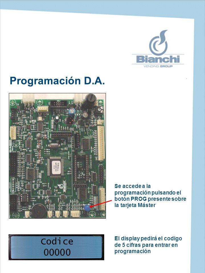 Programación D.A. Se accede a la programación pulsando el botón PROG presente sobre la tarjeta Máster Codice 00000 El display pedirá el codigo de 5 ci