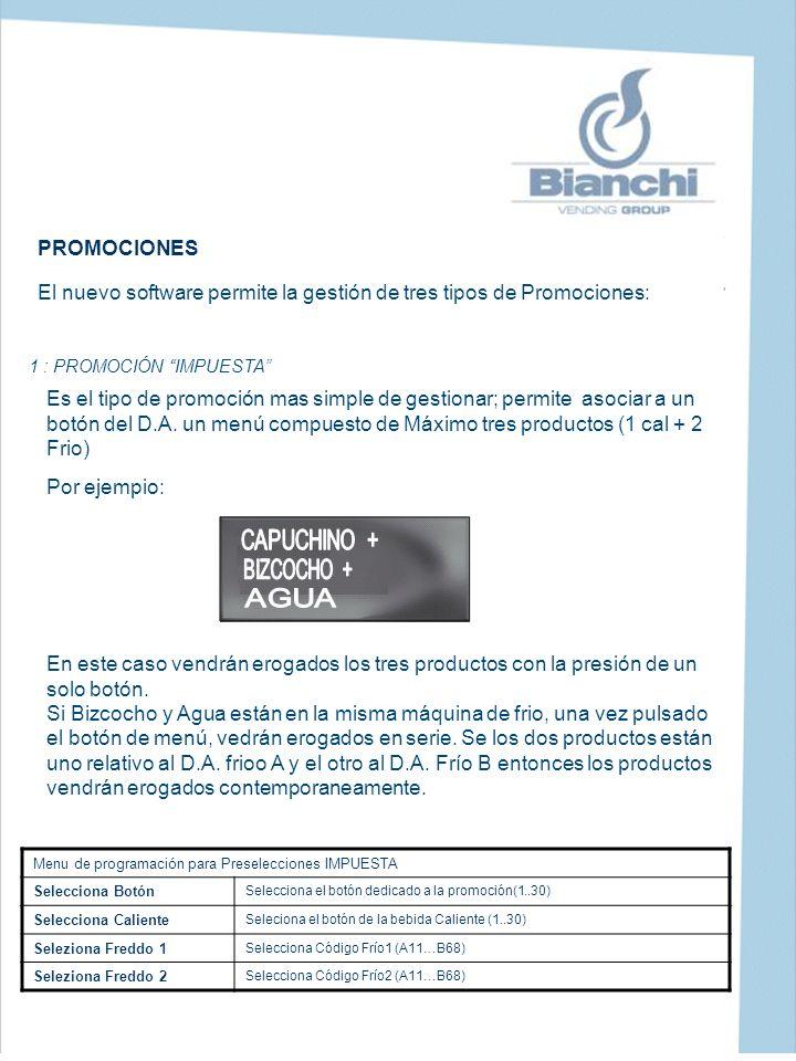 1 : PROMOCIÓN IMPUESTA PROMOCIONES El nuevo software permite la gestión de tres tipos de Promociones: Es el tipo de promoción mas simple de gestionar;