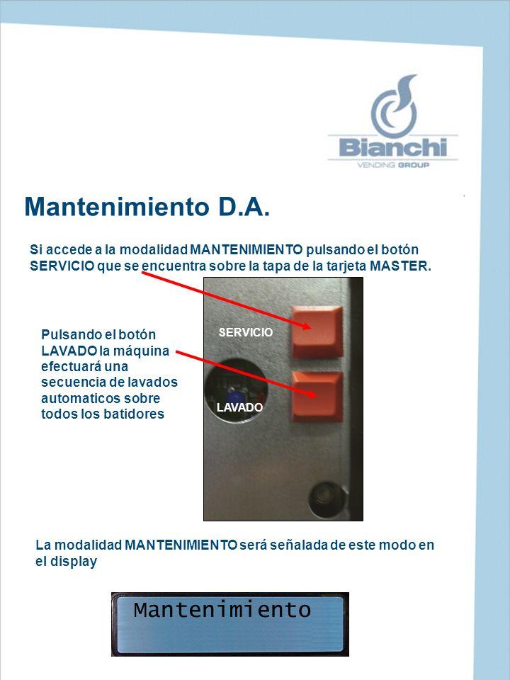 Mantenimiento D.A. Si accede a la modalidad MANTENIMIENTO pulsando el botón SERVICIO que se encuentra sobre la tapa de la tarjeta MASTER. Mantenimient