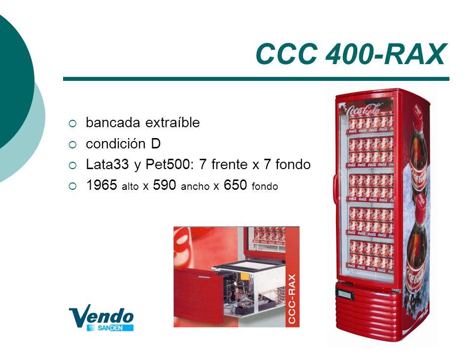 CCC 400-RAX bancada extraíble condición D Lata33 y Pet500: 7 frente x 7 fondo 1965 alto x 590 ancho x 650 fondo