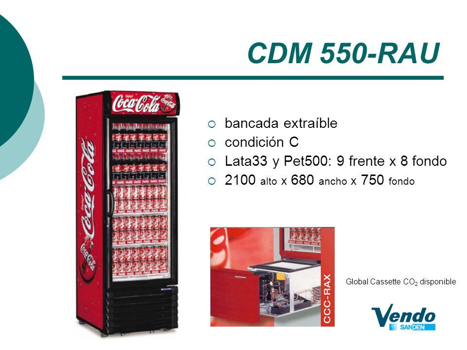 CDM 550-RAU bancada extraíble condición C Lata33 y Pet500: 9 frente x 8 fondo 2100 alto x 680 ancho x 750 fondo Global Cassette CO 2 disponible