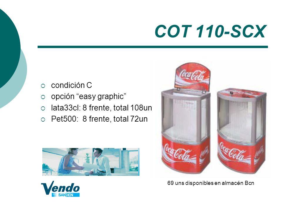 COT 110-SCX condición C opción easy graphic lata33cl: 8 frente, total 108un Pet500: 8 frente, total 72un 69 uns disponibles en almacén Bcn