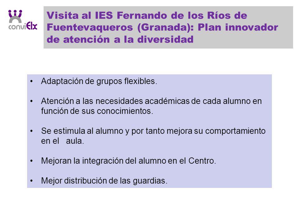 Visita al IES Fernando de los Ríos de Fuentevaqueros (Granada): Plan innovador de atención a la diversidad Adaptación de grupos flexibles. Atención a