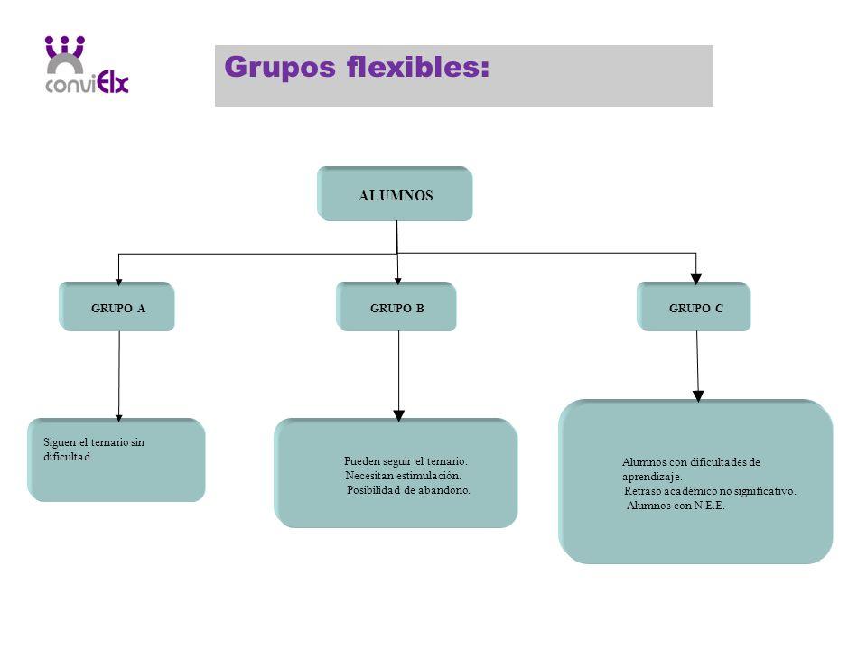 Grupos flexibles: GRUPO A ALUMNOS GRUPO BGRUPO C Siguen el temario sin dificultad. Pueden seguir el temario. Necesitan estimulación. Posibilidad de ab