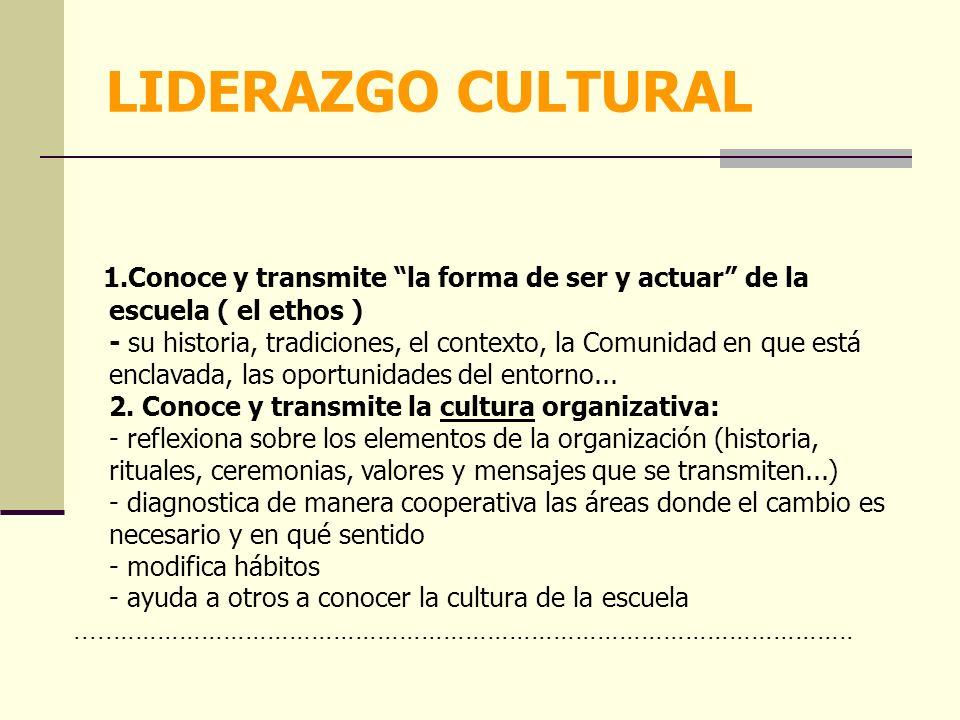 1.Conoce y transmite la forma de ser y actuar de la escuela ( el ethos ) - su historia, tradiciones, el contexto, la Comunidad en que está enclavada, las oportunidades del entorno...