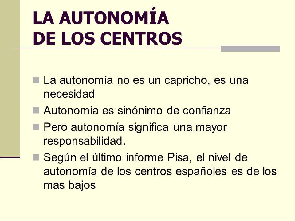 LA AUTONOMÍA DE LOS CENTROS La autonomía no es un capricho, es una necesidad Autonomía es sinónimo de confianza Pero autonomía significa una mayor responsabilidad.
