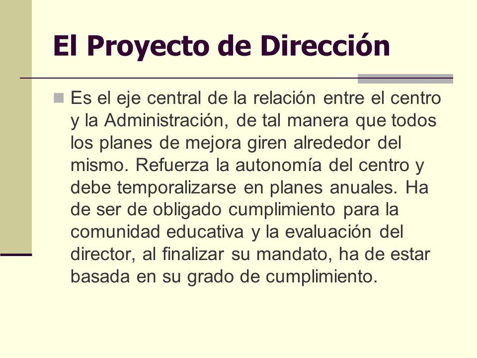 El Proyecto de Dirección Es el eje central de la relación entre el centro y la Administración, de tal manera que todos los planes de mejora giren alrededor del mismo.